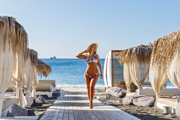 Young woman  at sea beach