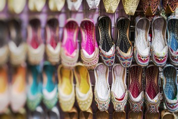 Shoes in arabian style, market of Dubai. Selective Focus.