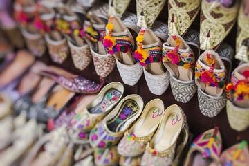 Shoes in arabian style, market of Dubai. Selective Focus.