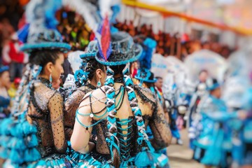 Dancers at Oruro Carnival in Bolivia. Selective Focus.