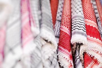Kufiya man's head scarf popular in the Arab countries. Selective Focus.