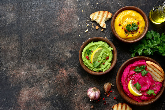 Assortment of hummus.Top view with copy space.