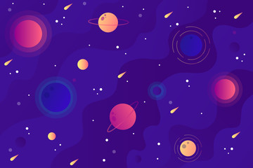 Background with space and planets in flat style.