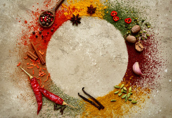 Assortment of natural spices.Top view with copy space.