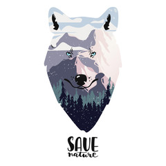 Saving of environment poster with landscape and wolf. Vector illustartion. Eps 10.