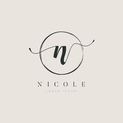Simple Elegant Letter N Logo With Circle Brush