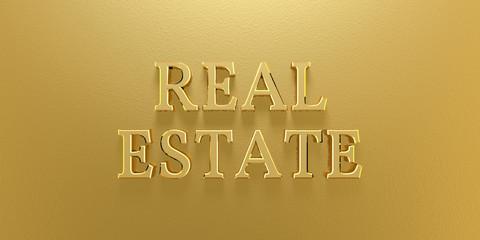 3D Illustration Real Estate Gold Text