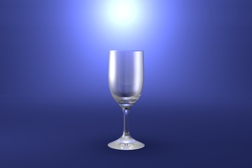 3D illustration of sour cocktail glass on light blue highlighted artistic background - drinking glass render