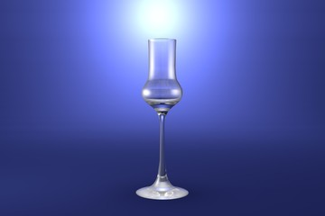 3D illustration of grappa glass on light blue highlighted artistic background - drinking glass render