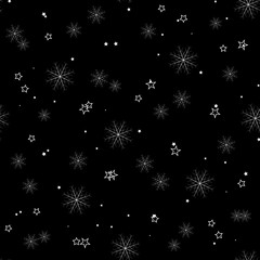 Snowflake simple seamless pattern on black. Abstract wallpaper, wrapping decoration. Symbol of winter, Merry Christmas holiday, Happy New Year celebration Vector illustration. eps10