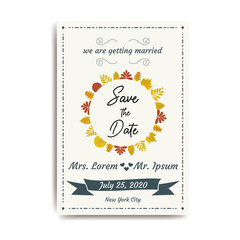 Wedding save the date, invitation card with white background, vector, illustration, eps file