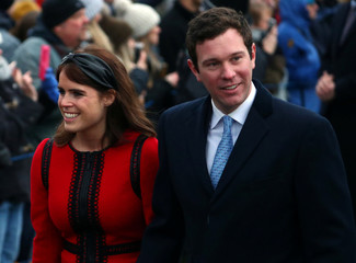 Princess Eugenie and Jack Brooksbank arrive at St Mary Magdalene's church for the Royal Family's Christmas Day service on the Sandringham estate in eastern England