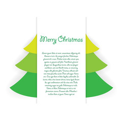 Merry Christmas tree with place for text and shadow effect on white background