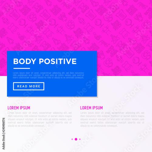 2de4bd433e8 Body positive concept with thin line icons  woman plus size