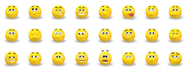 Set of yellow emoticons 3D Illustration