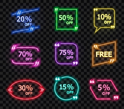 Vector Collection on Shining Quote Frames with Different Offers Isolated on Dark Transparent Background.