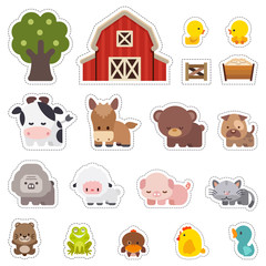 Stickers with domestic animals, Colorful set of cute farm animals, Farm animals Vector illustrator