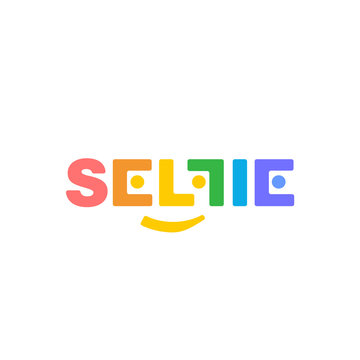 Color vector logo soft corners SELFI on a white background. Beautiful and modern design for branding.