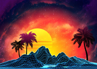 Vaporwave landscape with rocks and palms