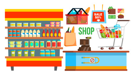 Shopping Mall Supermarket Vector. Shopping Bags, Interior, Products. Seasonal Sale At Store. Cashbox. Isolated Flat Cartoon Illustration