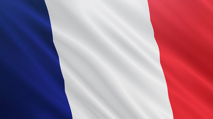 France flag is waving 3D animation. Symbol of European, French national on fabric cloth 3D rendering in full perspective.