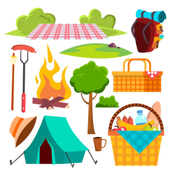 Picnic Items Vector. Tent, Campfire, Sausages, Basket. Hike, Summer Vacation. Isolated Cartoon Illustration