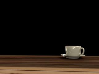 Coffee cup on Wooden floor, 3D rendering