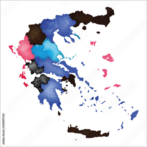 Map of Greece. Colourful watercolor Greece map. Graceful ...