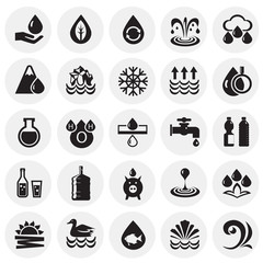 Water icon set on circles background for graphic and web design, Modern simple vector sign. Internet concept. Trendy symbol for website design web button or mobile app