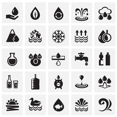 Water icon set on squares background for graphic and web design, Modern simple vector sign. Internet concept. Trendy symbol for website design web button or mobile app