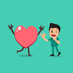 Vector cartoon character male nurse with big heart for design.