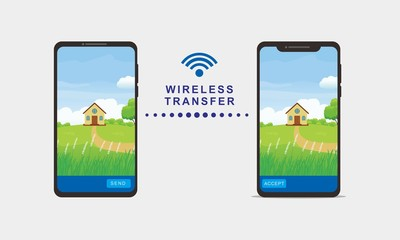 Vector illustration of data transfer using wireless connection on modern smartphone