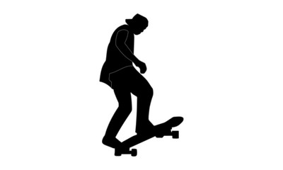 Men's style silhouette takes action on a skateboard during a race.