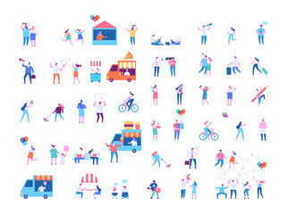 Different people characters big vector set. Flat vector illustration isolated on white.