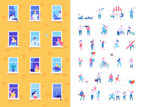 Neighbors people characters. Different Men and women. People in window frames. Flat cartoon vector illustration.