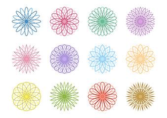 幾何学模様 花 アイコン デザイン