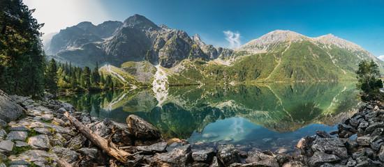 Fototapeta Tatra National Park, Poland. Panorama Famous Mountains Lake Mors obraz