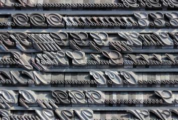Series of random typefaces in italics