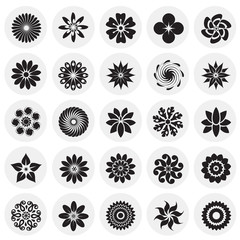 Flower icons set on circles background for graphic and web design, Modern simple vector sign. Internet concept. Trendy symbol for website design web button or mobile app