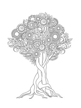 zen tangled tree with mandalas, flowers and leaves