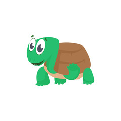 Cheerful cartoon turtle waving paw and greeting. Cute character, animal, shell. Can be used for topics like ocean, zoo, alphabet for kids