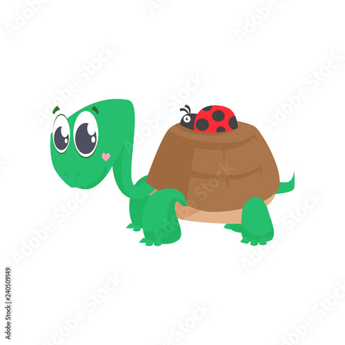 Cute turtle carrying ladybug on shell  Cartoon character