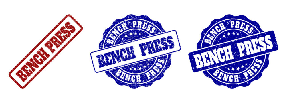 BENCH PRESS scratched stamp seals in red and blue colors. Vector BENCH PRESS imprints with scratced effect. Graphic elements are rounded rectangles, rosettes, circles and text tags.