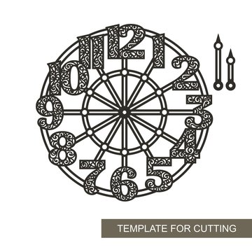 Openwork dial with arrows and roman numerals. Silhouette of clock on white background. Decor for home. Template for laser cutting, wood carving, paper cut and printing. Vector illustration.