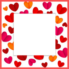 Square frame of bright hearts for Valentine s day