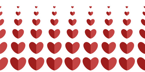WebHorizontal border of hearts of different sizes