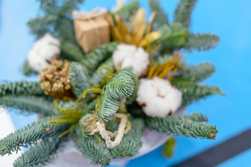 Christmas pine branches bouquet