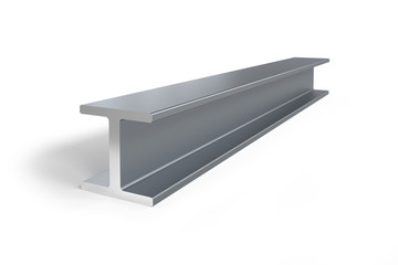 Single steel I-beam isolated on white background -  3D rendering