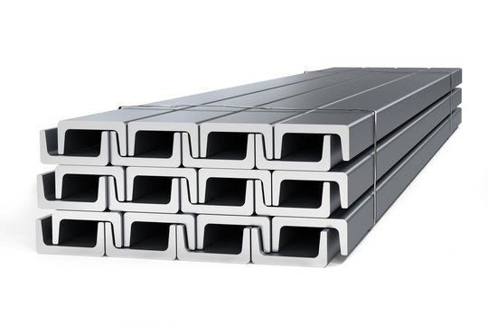 Stack of c-beams (Structural channels) - 3D rendering