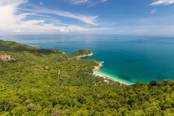 Bird eye view to a tropical beach